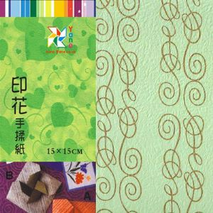 Patterns Shoyu Paper - green Straight lines, 6 inch (15 cm) square, 15 sheets, (YHZ089)